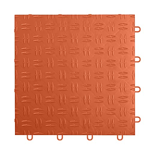 IncStores 1/2 Inch Thick Grid-Loc Interlocking Garage Floor Tiles   Plastic Flooring for a Stronger and Safer Garage, Workshop, Shed, or Trailer   Diamond-Top, Harley Orange, 12 Pack