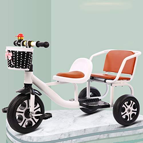 Triciclo De Hijos Gemelos, Bicicleta 3 Ruedas, De Dos Plazas De Empuje Triciclos, Trikes con El Ergonómico Y Ligero Cochecitos For Niños Y Niñas For Los Deportes Al Aire Libre (Color : White)