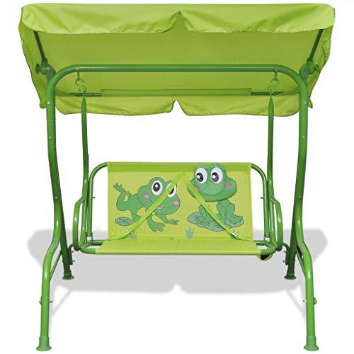 Nishore Kinder-Hollywoodschaukel Schaukel mit Sonnendach Gartenschaukel Frosch-Muster Mit einem Sonnendach 115 x 75 x 110 cm Grün