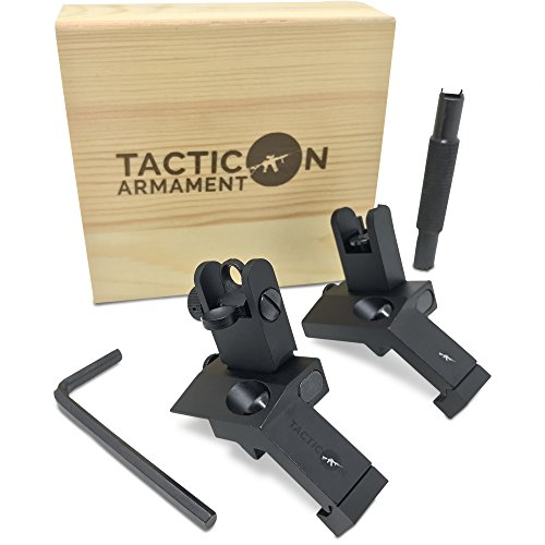 TACTICON 45 Degree Offset Flip Up Iron Sights for Rifle Includes Front Sight Adjustment Tool |...