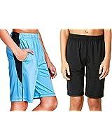 DEVOPS Boys 2-Pack Active Athletic Basketball Shorts with Pockets (Large, Black/Sky Blue)