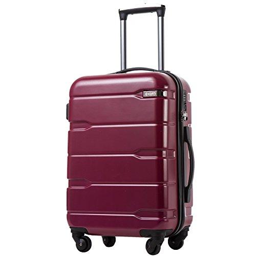 COOLIFE Koffer Reisekoffer Vergrößerbares Gepäck (Nur Großer Koffer Erweiterbar) PC + ABS Material mit TSA-Schloss und 4 Rollen(Radiant Pink, Großer Koffer)