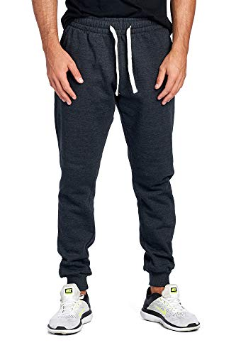 ProGo Men's Joggers Sweatpants Basic Fleece Marled Jogger Pant Elastic Waist (Medium, Charcoal)