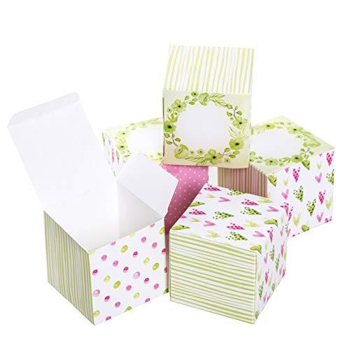 Logbuch-Verlag kleine geschenkdoos roze groen wit hart gastgeschenk bruiloft verpakking give away doos met deksel geschenkverpakking vouwdoos 7 x 7 cm 10 Stück