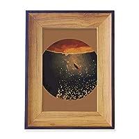 宇宙と宇宙人の風景 フォトフレーム、デスクトップ、木製