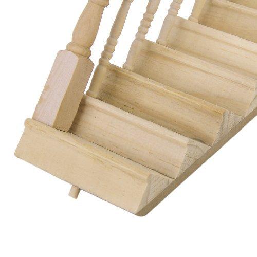 Puppenhaus vormontierter Treppenstufen-Treppenstufen aus Holz mit linkem Handlauf von Generic 1:12