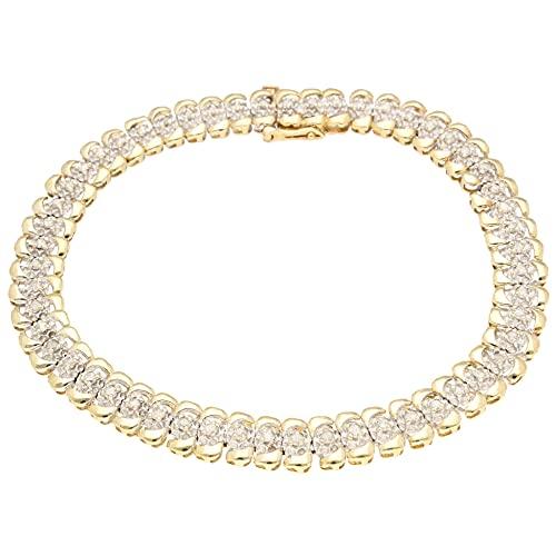 Jollys Jewellers Pulsera de tenis de oro amarillo de 9 quilates, 19 cm, 1,00 quilates, 7 mm de ancho