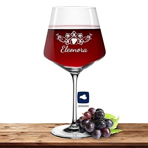 Leonardo Burgunderglas Rotweinglas XL mit Namen oder Wunschtext graviert, 730ml, PUCCINI, personalisiertes Premium Weinglas in Gastroqualität (Weinrebe)