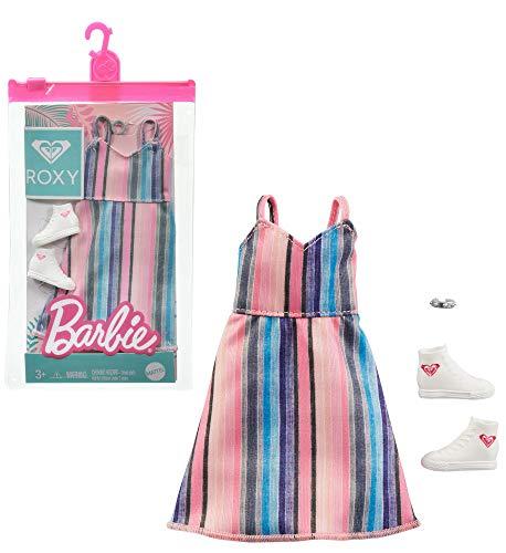 Barbie Roxy GRD43 - Conjunto de ropa de moda con vestido a rayas y zapatillas