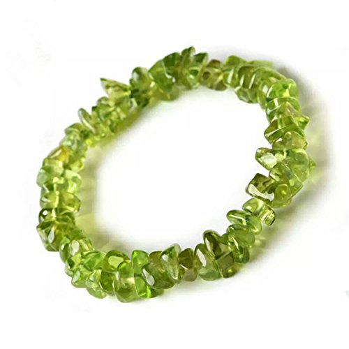 LiZiFang 6mm Natural Olivine Peridot Gemstone Stretch Irregular Crystal Bead Bracelet