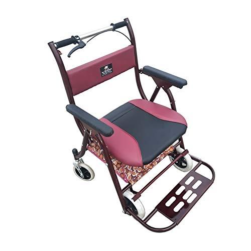 Gehrahmen Trolley Shopping cart, tragbare Falten, mit Sitz, maximales Gewicht von 200 Pfund, geeignet for Einkaufen, Einkaufen, Reisen (Color : Red)