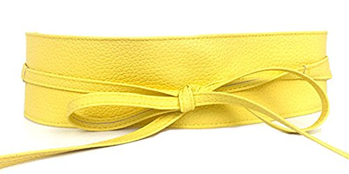 Women's PU Leather Waist Belt Bow Tie Wrap Around Soft Boho Corset Fashion Elegant for Dresses (Yellow)