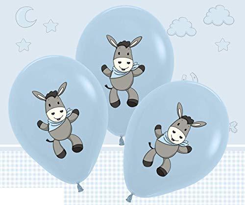 TIB Heyne 4 Luftballons * SÜSSER Esel - HELLBLAU * als Deko zur Baby-Boy-Party und Kindergeburtstag | Ballons Party Mottoparty Geburtstag Kinder Junge