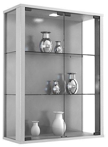 VCM Wandvitrine Sammelvitrine Glasvitrine Wand Vitrine Regal Schrank Glas Hängevitrine 80 x 60 x 25 cm Silber
