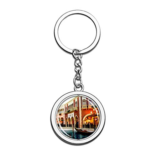 America Usa Venetian Las Vegas Keychain Key Chain Souvenir Spin Crystal Metal Stainless Steel Chain City Travel Gift