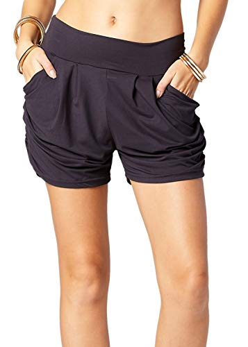 Premium Ultra Soft Harem Shorts with Pockets - 40 Different Styles (Size:Large/X-Large/Color:Solid Charcoal Grey)