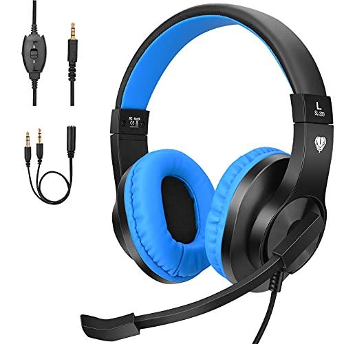 BlueFire Cascos Gaming PS4 con Microfono,Auriculares de Diadema con Sonido Envolvente y Cancelacion Ruido Headset para PS4 PC Xbox One Y Móvil (Azul)