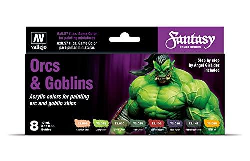 Vallejo Game Color - Orcs & Goblins - Set di Colori Acrilici, 8 x 17 ml, Multicolore