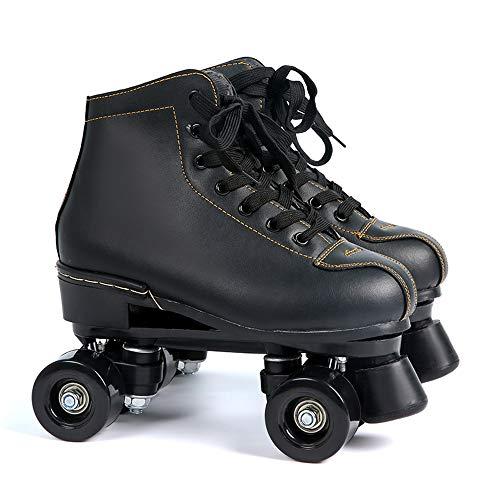 CYYZB Frauen-Roller Skates, zweireihig Skates Verstellbare PU-Leder mit hohen Top-Roller Skates für Indoor Outdoor Adult Rollerskates,Black Wheel,UK 9.5/EU 45