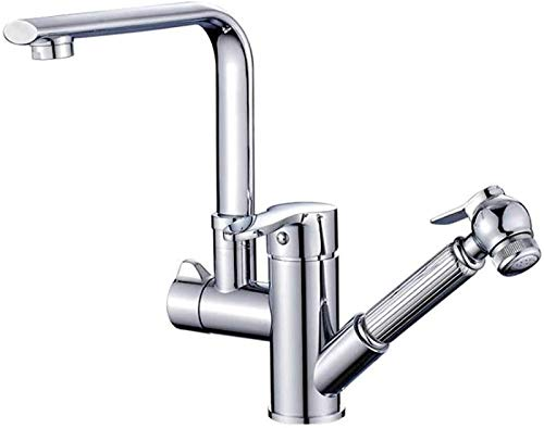 Kitchen Faucet Rotate 360 ° Heable Kitchen Sink Mixer Taps with Pull Out Spray Chrome Modern Single Lever Swivel Spout Kitchen Basin Tap with UK