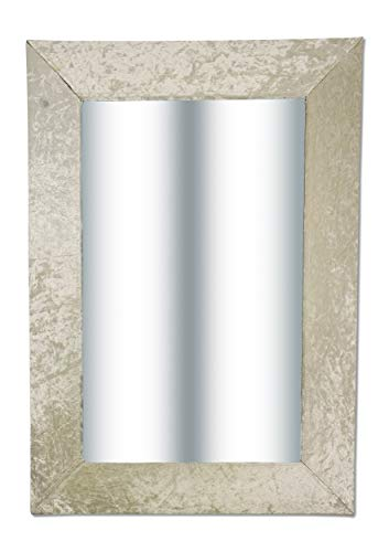 Aminori Large Wall Mounted Cream Pearl Colour Velvet Effect Thick Framed Wall Mirror 50 x 70cm