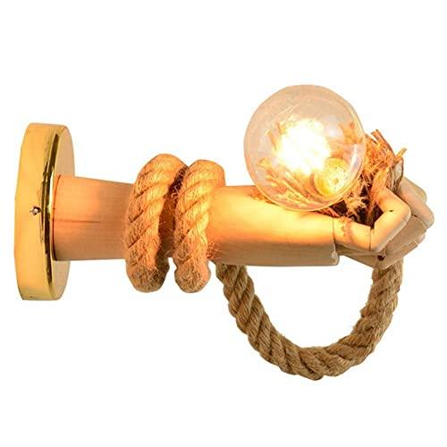 Aplique de pared de madera vintage cuerda larga de cáñamo lámpara de mano para sujetar la bombilla con interruptor apliques para lámpara de pasillo (portalámparas E27 [Clase energética A