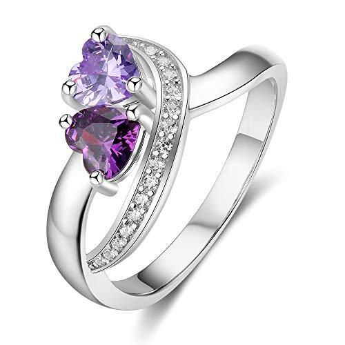Smileface personalisierte Versprechen Ringe für Paare und Sterling Silber Ringe für Frauen 925 Engagement Hochzeit Liebesgeschenk mit 2 Herzen simuliert Birthstone und 2 eingravierten Namen Größe 68
