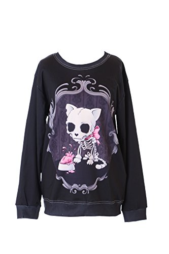 Kawaii-Story WY-WS-0178 - Sudadera con capucha y diseño de gato y calavera, color negro