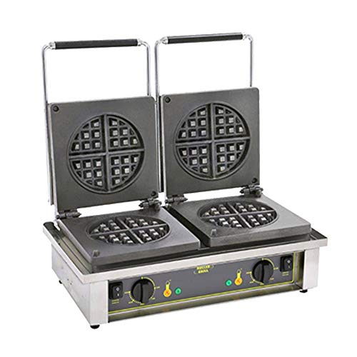 For Sale! Equipex GED75 Sodir Waffle Baker, Electric Double Waffle Maker with Round Plate Pattern, 2...