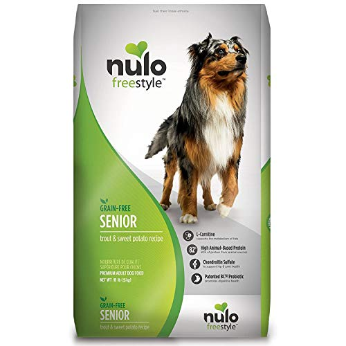 Nulo Senior Grain Free Dog Food With Glucosamine And Chondroitin (Trout And Sweet Potato Recipe, 11Lb Bag), Model:Senior Trout & Sweet Potato