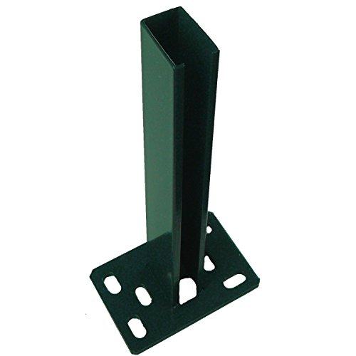 Zaun Bodenplatte Zaunpfosten Bodenplatte Dübelplatte Pfostenhalter Pfostenverankerung Zaunfuß (Moosgrün RAL 6005)