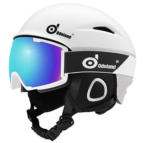 Odoland Casco de Esquí con Gafas de Esquí, Casco Unisex para Deportes de Invierno con Gafas de Nieve con 10 Orificios de Ventilación, Forro Extraíble, para Adultos y Jóvenes, Blanco, L:60-61cm