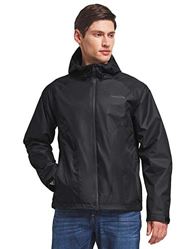 BALEAF Men's Waterproof Rain Jacket Lightweight Windbreaker Hooded Outdoor Water Resistant Shell Black 2XL