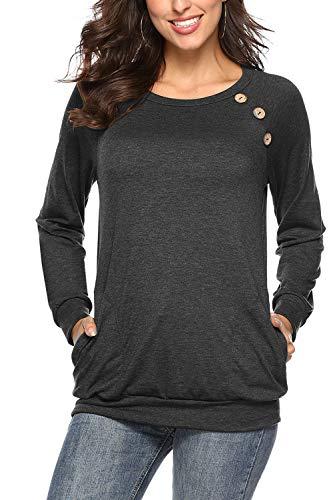 NICIAS Damen Langarmshirt Pullover Lässige Rundhals Sweatshirt Schaltflächen Hemd T Shirt Bluse Tunika Top mit Taschen Dunkelgrau M