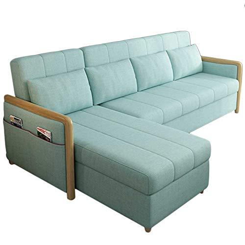 RJMOLU Sofá de Lujo contemporáneo Convertible Sofá sofá para Sala de Estar, Moderno sofá en Forma de l de Lino con Cama de extracción, Futón Plegable Convertible con sofá Cama,Verde