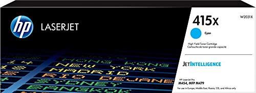 HP 415X W2031X Cartuccia Toner Originale ad Ata Capacità, da 6.000 Pagine, per Stampanti HP Color LaserJet Serie Pro M454 e M479, JetIntelligence, Ciano