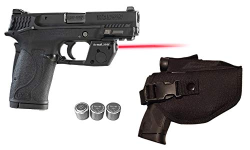 LASERPRO Red Laser Kit for S&W Smith-Wesson M&P 380 Shield EZ & M&P9 (MP9 9mm) Shield EZ, M&P22 Compact w/LASERPRO Holster, Touch-Activated ArmaLaser TR28 Red Laser Sight & 2 Extra Batteries