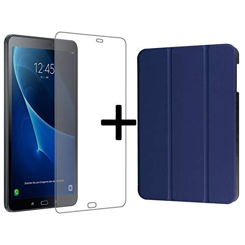 Set van 3 voor Samsung Galaxy Tab A 10.1 inch SM-T580 T585 tablet met hoes + veiligheidsglas + touchpen met Auto Sleep/Wake beschermhoes blauw