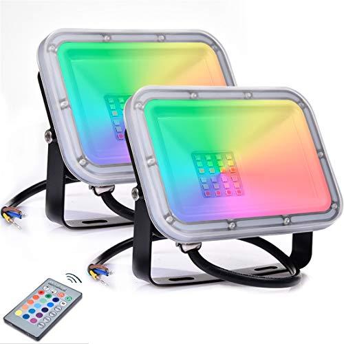 2 x 10W RGB Foco LED con Control Remoto 800lm,16 Colores & 4 Modos, Foco Proyector Exteriores con Función de Memoria Impermeable IP66 Iluminación del Paisaje Proyector LED para Jardín Fiesta Etapa