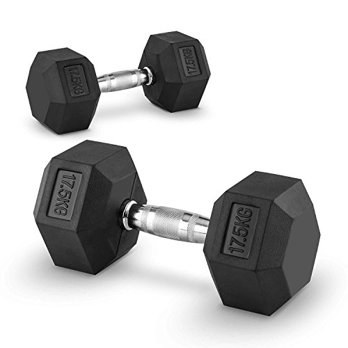 CapitalSports Hexbell Pair of Dumbbells (Fixed Weights, Shock-Resistant Rubber Coating & Suitable for Body Building & Cross Training) -