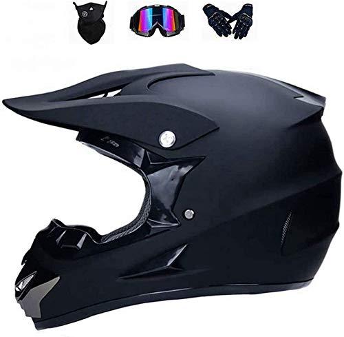 YXLM Fullface - Casco de protección para motocross, casco de motocross para adulto para scooter, fuera de carretera de bajada, Dirt Bike MX ATV, con gafas, guantes y máscara, certificación ECE y DOT L