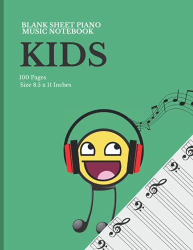 Blank Sheet Piano Music Notebook for Kids: Music Blank Sheet Paper Notebook For Kids - 6 Wide Staves Per Page   8.5 x11  100 Pages