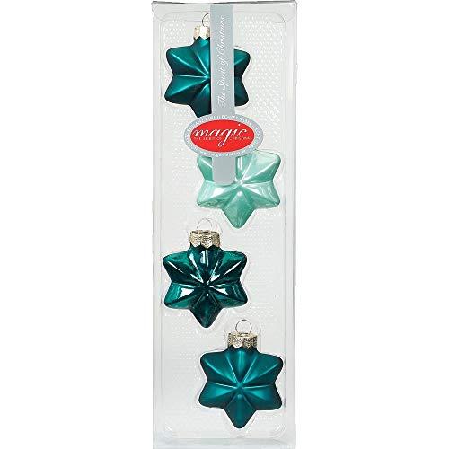 INGE-Glas Magic Weihnachtskugeln Sterne | Christbaumkugeln in Sternform 6cm 4stk | Stern-Baumkugeln in vielen Farben (Green Emerald | türkis Mint)
