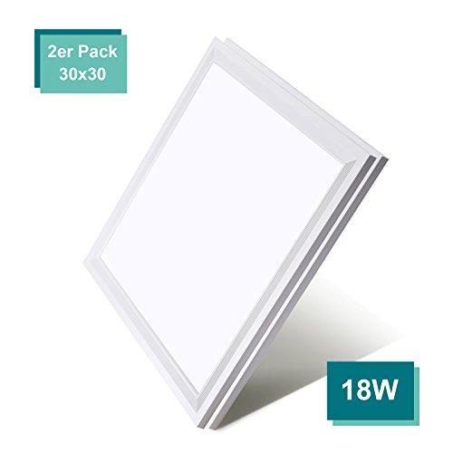 [2er Pack zum Sparpreis] OUBO LED Panel Deckenleuchte 30x30cm Wandleuchte Neutralweiß 4000K, 18W, 1900 lumen, LED Lampe Ultraslim Einbauleuchte mit weißrahmen