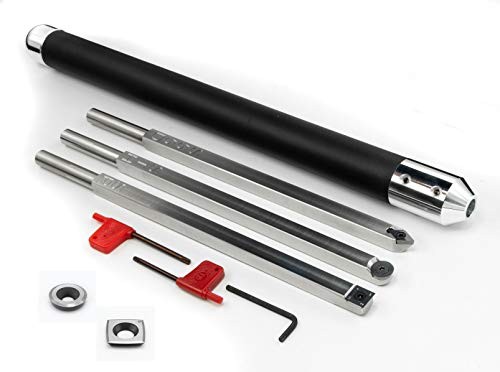 Simple Woodturning Tools 3 Tool Set for Turning Wood and 17' Interchangeable Handle Plus Additional Negative Rake Replacement Cutter for STH and SR Tool for Resin or Acrylic, Full Size, USA Made