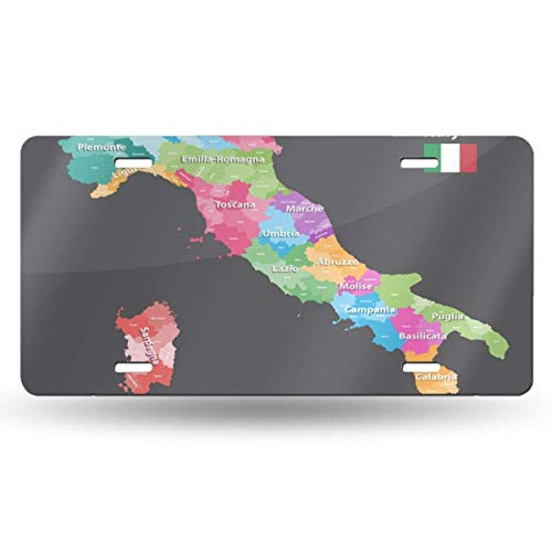 BRIGHT JUNAY Cool Metal License Plate,Alessandria Italian Italy Provinces Map Colored by Regions All Layers Detachable and Labeled Abruzzo Car Front License Plate 6 Inch X 12 Inch