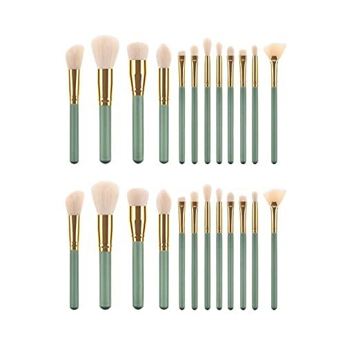 Scorpio Lot de 24 pinceaux de maquillage avec manche en bois vert et tube en aluminium doré