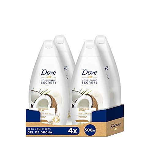 Dove Gel De Ducha Coco y Almendras - 4 Paquetes de 500 ml - Total: 2000 ml