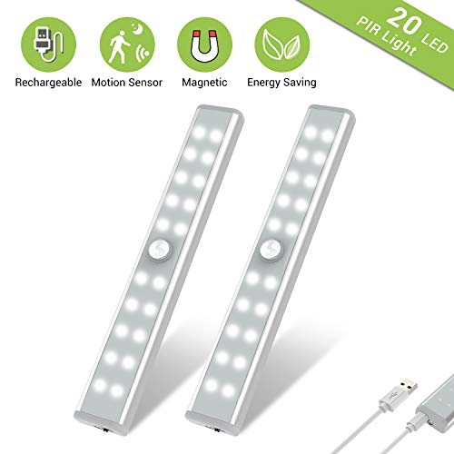 Wardrobe Light, OxyLED Motion Sensor Closet Lights, 20 LED Under Cabinet Lights, USB Rechargeable Stick-on Stairs Step Light Bar, LED Night Light, Safe Light with Magnetic Strip, 2-pack, T-02U