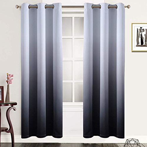 Gradient Color Ombre Blackout Curtains Thickening Polyester Eyelet Top Panels Thermal Insulated Grommet Window Drapes for Living Room/Bedroom (Black, 2 Panels/42 x 72Inch)